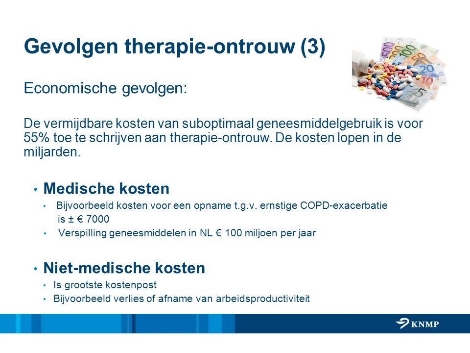 Gevolgen therapie-ontrouw (3) Economische gevolgen: De vermijdbare kosten van suboptimaal geneesmiddelgebruik is voor 55% toe te schrijven aan therapie-ontrouw.
