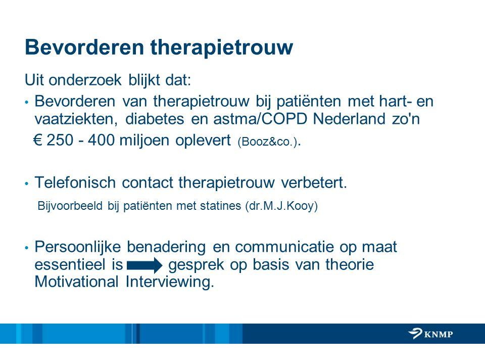 Bevorderen therapietrouw Uit onderzoek blijkt dat: Bevorderen van therapietrouw bij patiënten met hart- en vaatziekten, diabetes en astma/COPD Nederland zo n € 250 - 400 miljoen oplevert (Booz&co.).
