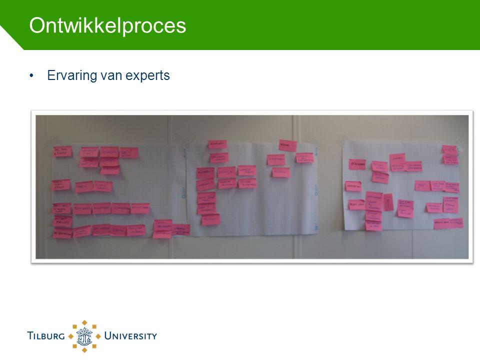 Ontwikkelproces Ervaring van experts