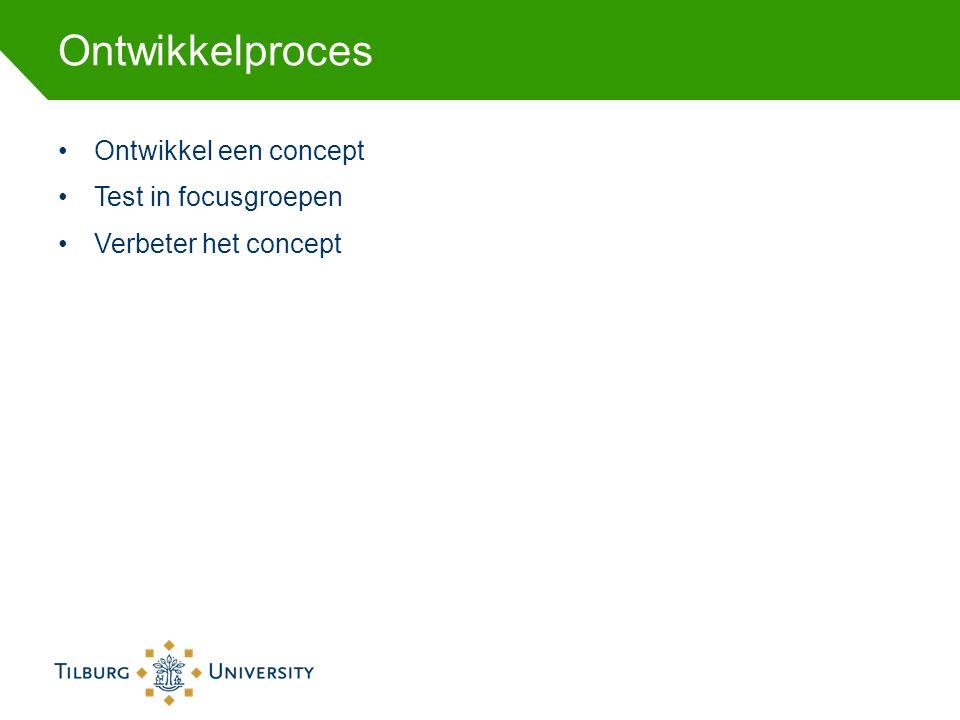 Ontwikkelproces Ontwikkel een concept Test in focusgroepen Verbeter het concept