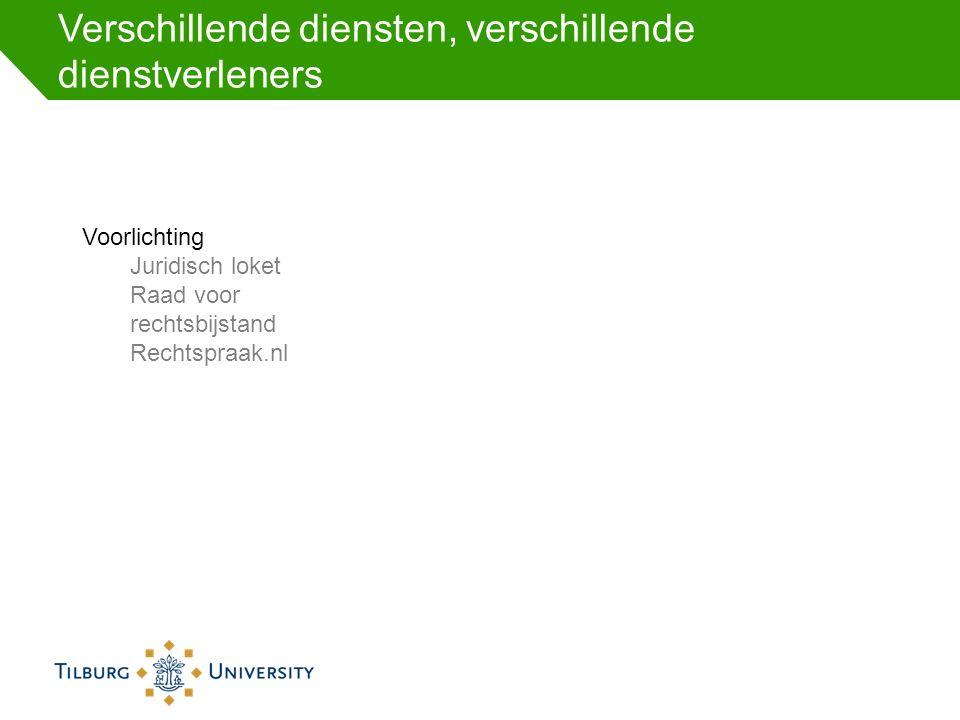 Verschillende diensten, verschillende dienstverleners Voorlichting Juridisch loket Raad voor rechtsbijstand Rechtspraak.nl