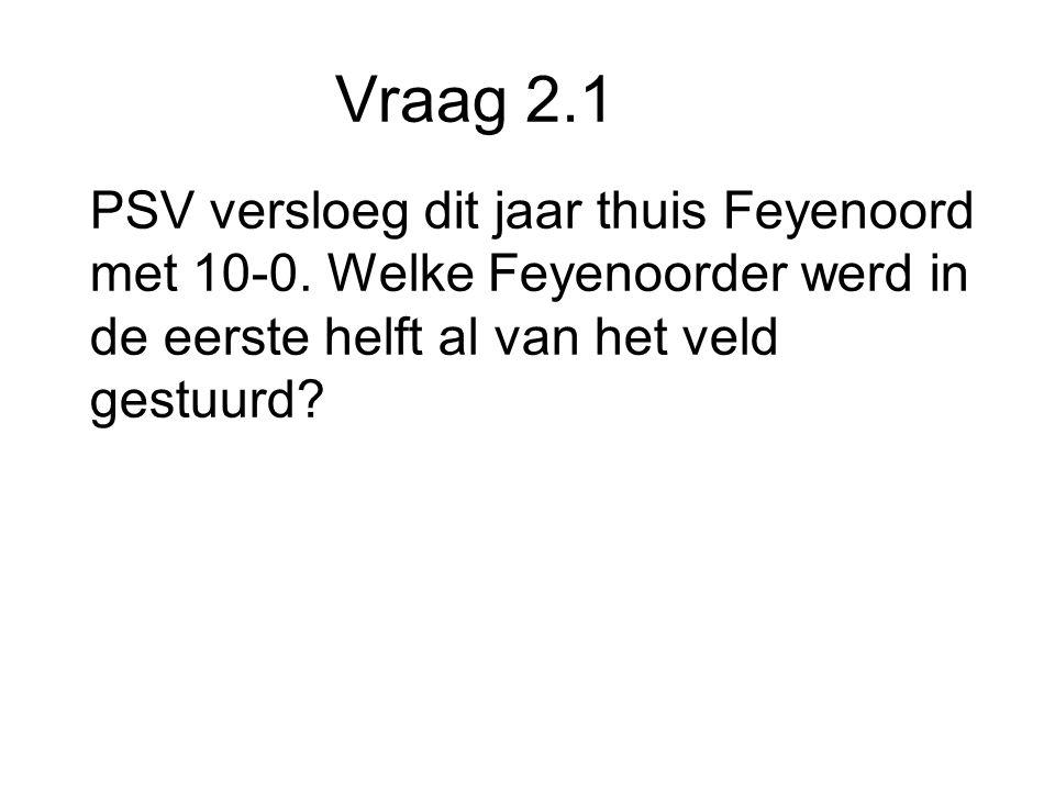 Vraag 2.1 PSV versloeg dit jaar thuis Feyenoord met 10-0.
