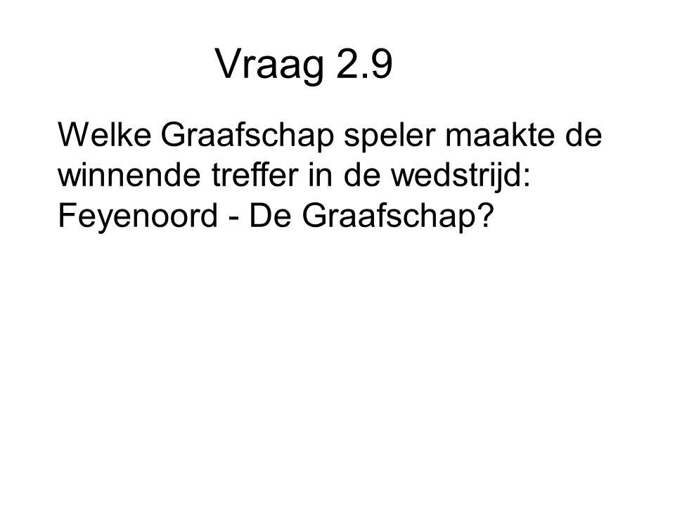Vraag 2.9 Welke Graafschap speler maakte de winnende treffer in de wedstrijd: Feyenoord - De Graafschap