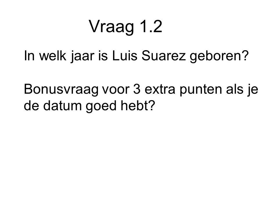 Vraag 1.2 In welk jaar is Luis Suarez geboren.