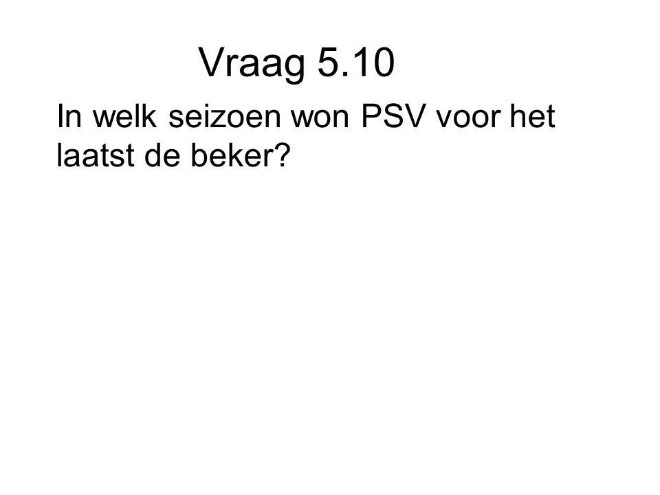 Vraag 5.10 In welk seizoen won PSV voor het laatst de beker