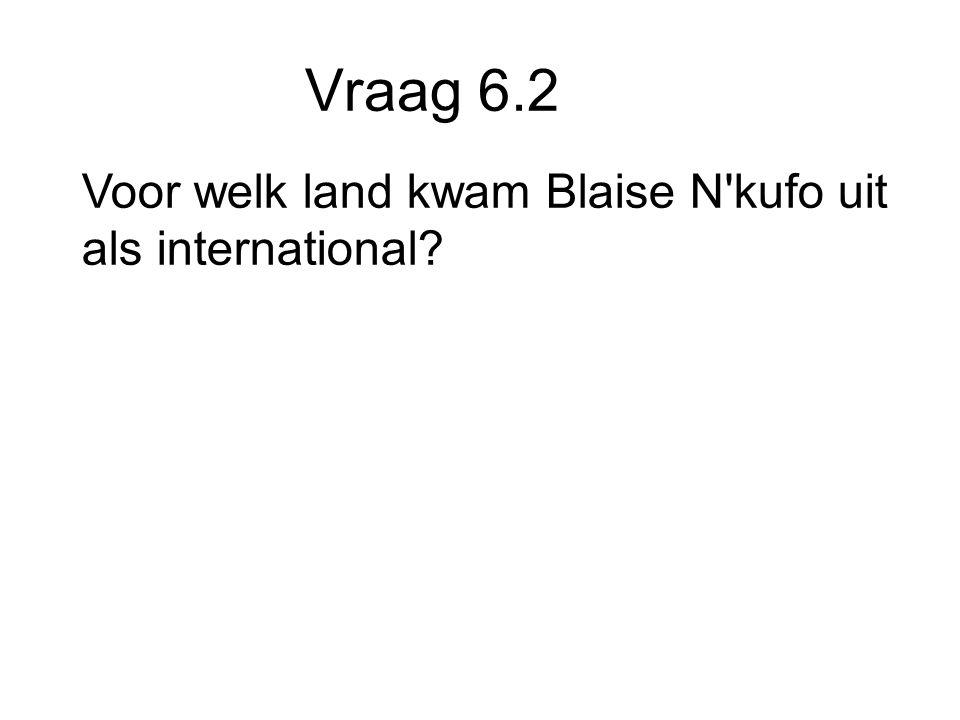 Vraag 6.2 Voor welk land kwam Blaise N kufo uit als international