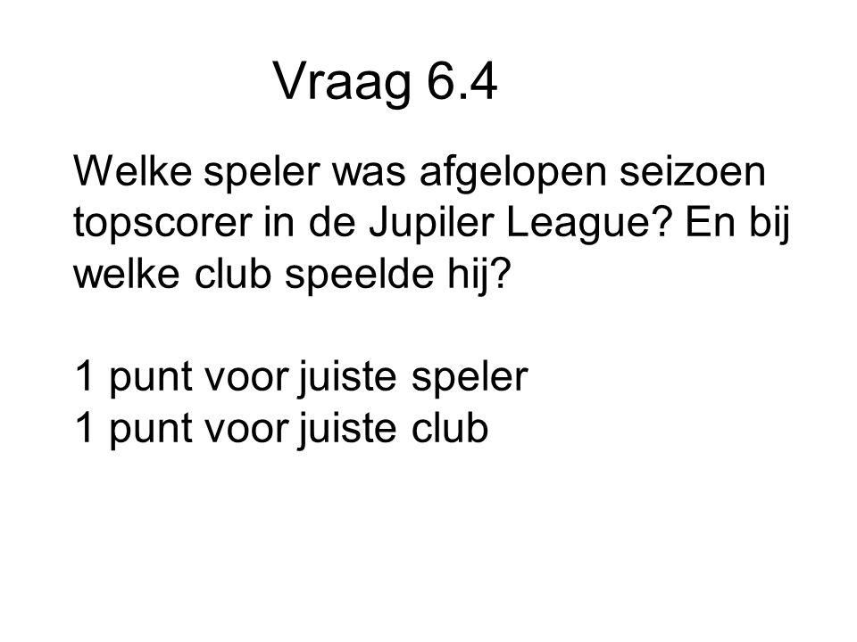 Vraag 6.4 Welke speler was afgelopen seizoen topscorer in de Jupiler League.
