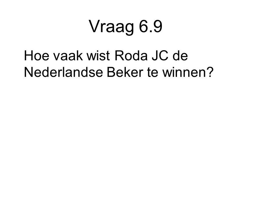 Vraag 6.9 Hoe vaak wist Roda JC de Nederlandse Beker te winnen