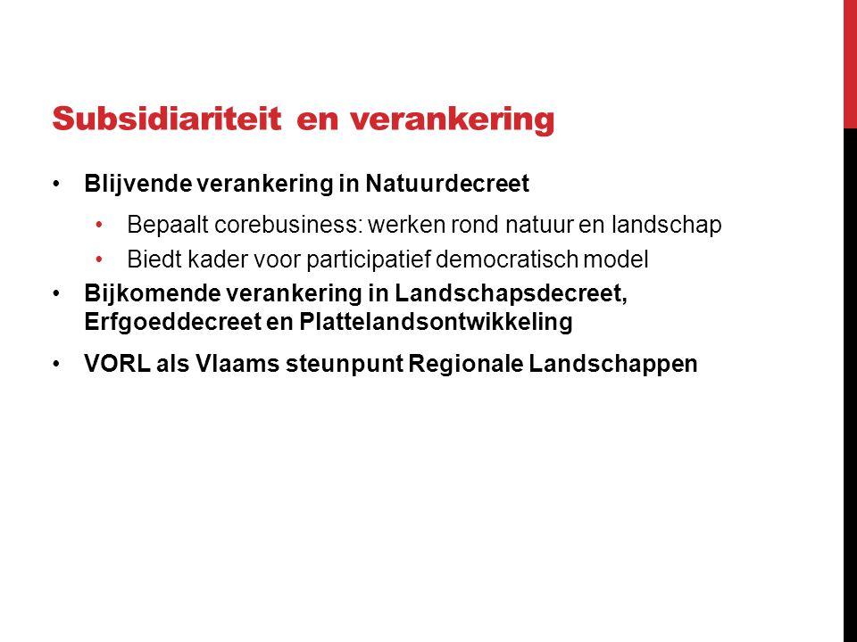 Subsidiariteit en verankering Blijvende verankering in Natuurdecreet Bepaalt corebusiness: werken rond natuur en landschap Biedt kader voor participatief democratisch model Bijkomende verankering in Landschapsdecreet, Erfgoeddecreet en Plattelandsontwikkeling VORL als Vlaams steunpunt Regionale Landschappen