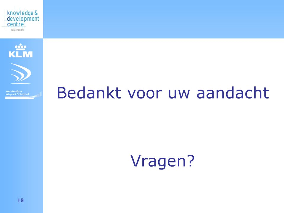 Amsterdam Airport Schiphol 18 Bedankt voor uw aandacht Vragen