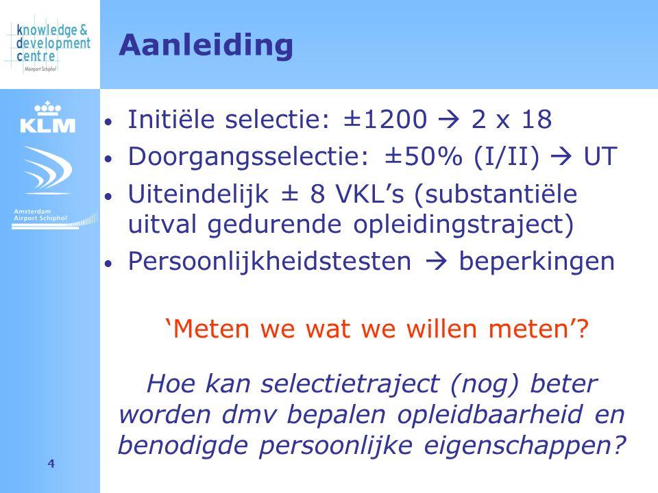 Amsterdam Airport Schiphol 4 Aanleiding Initiële selectie: ±1200  2 x 18 Doorgangsselectie: ±50% (I/II)  UT Uiteindelijk ± 8 VKL's (substantiële uitval gedurende opleidingstraject) Persoonlijkheidstesten  beperkingen 'Meten we wat we willen meten'.