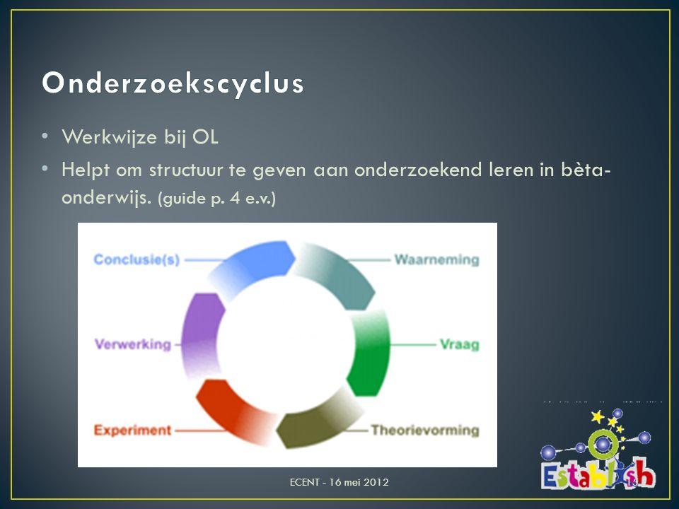 Werkwijze bij OL Helpt om structuur te geven aan onderzoekend leren in bèta- onderwijs. (guide p. 4 e.v.) ECENT - 16 mei 201215