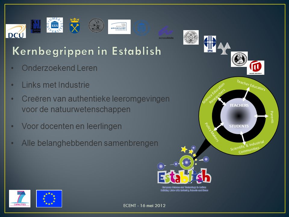 Science Education Researchers Teacher Educators Policy Makers Parents Scientific & Industrial Communities TEACHERS STUDENTS Onderzoekend Leren Links met Industrie Creëren van authentieke leeromgevingen voor de natuurwetenschappen Voor docenten en leerlingen Alle belanghebbenden samenbrengen ECENT - 16 mei 2012
