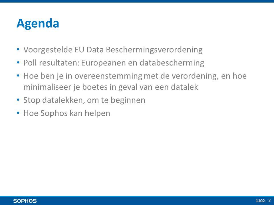 2 Agenda Voorgestelde EU Data Beschermingsverordening Poll resultaten: Europeanen en databescherming Hoe ben je in overeenstemming met de verordening, en hoe minimaliseer je boetes in geval van een datalek Stop datalekken, om te beginnen Hoe Sophos kan helpen 1102 -