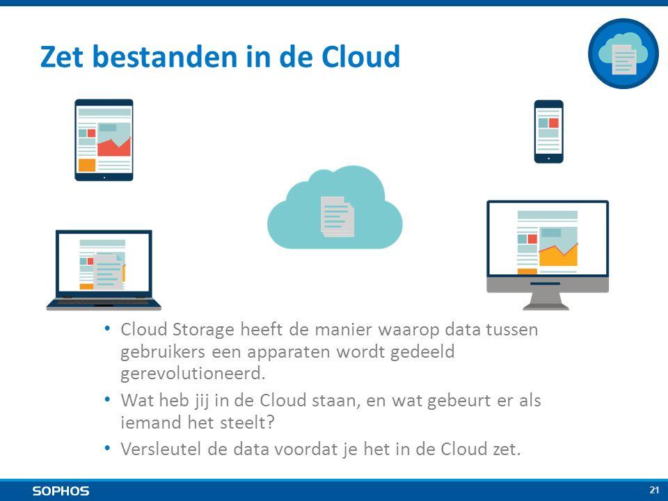 21 Zet bestanden in de Cloud Cloud Storage heeft de manier waarop data tussen gebruikers een apparaten wordt gedeeld gerevolutioneerd.