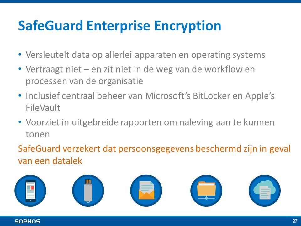 27 SafeGuard Enterprise Encryption Versleutelt data op allerlei apparaten en operating systems Vertraagt niet – en zit niet in de weg van de workflow en processen van de organisatie Inclusief centraal beheer van Microsoft's BitLocker en Apple's FileVault Voorziet in uitgebreide rapporten om naleving aan te kunnen tonen SafeGuard verzekert dat persoonsgegevens beschermd zijn in geval van een datalek