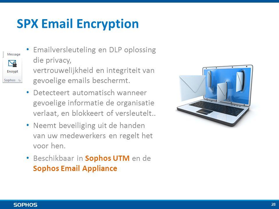 28 SPX Email Encryption Emailversleuteling en DLP oplossing die privacy, vertrouwelijkheid en integriteit van gevoelige emails beschermt.