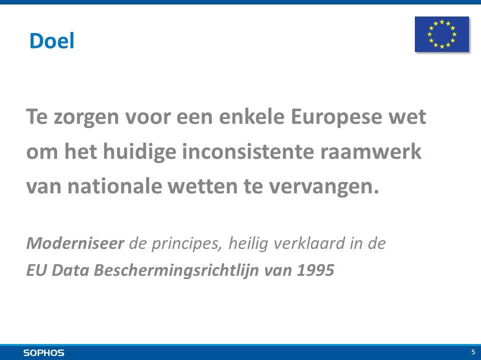 5 Te zorgen voor een enkele Europese wet om het huidige inconsistente raamwerk van nationale wetten te vervangen.