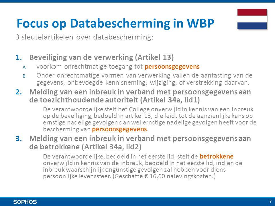 7 Focus op Databescherming in WBP 3 sleutelartikelen over databescherming: 1.Beveiliging van de verwerking (Artikel 13) A.