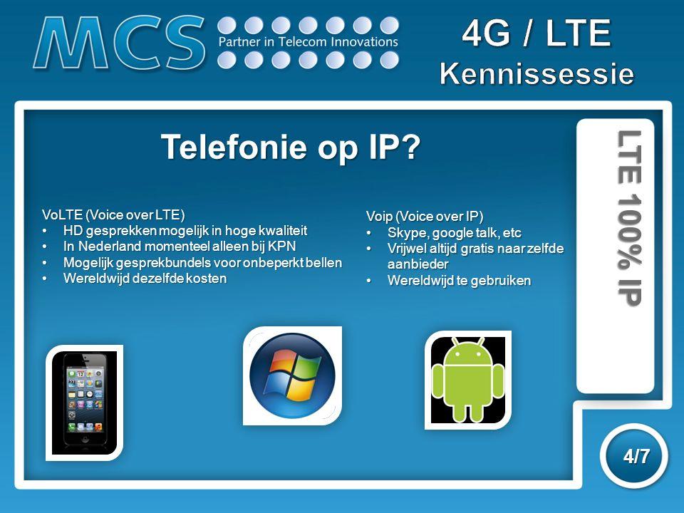 LTE 100% IP 4/7 VoLTE (Voice over LTE) HD gesprekken mogelijk in hoge kwaliteitHD gesprekken mogelijk in hoge kwaliteit In Nederland momenteel alleen bij KPNIn Nederland momenteel alleen bij KPN Mogelijk gesprekbundels voor onbeperkt bellenMogelijk gesprekbundels voor onbeperkt bellen Wereldwijd dezelfde kostenWereldwijd dezelfde kosten Telefonie op IP.