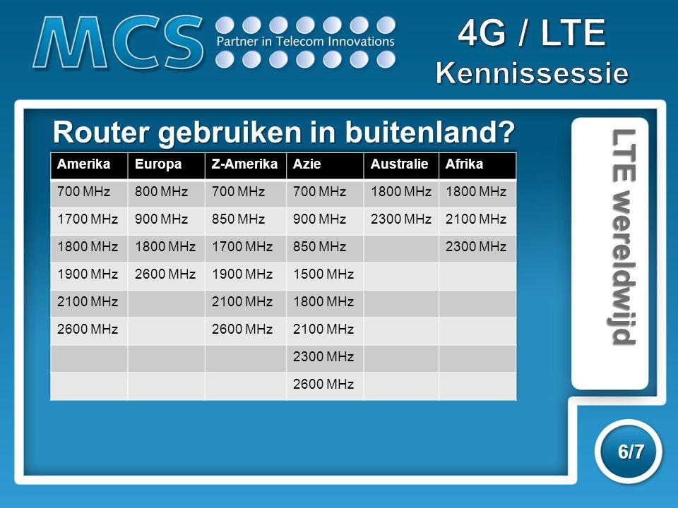 LTE wereldwijd 6/7 Router gebruiken in buitenland