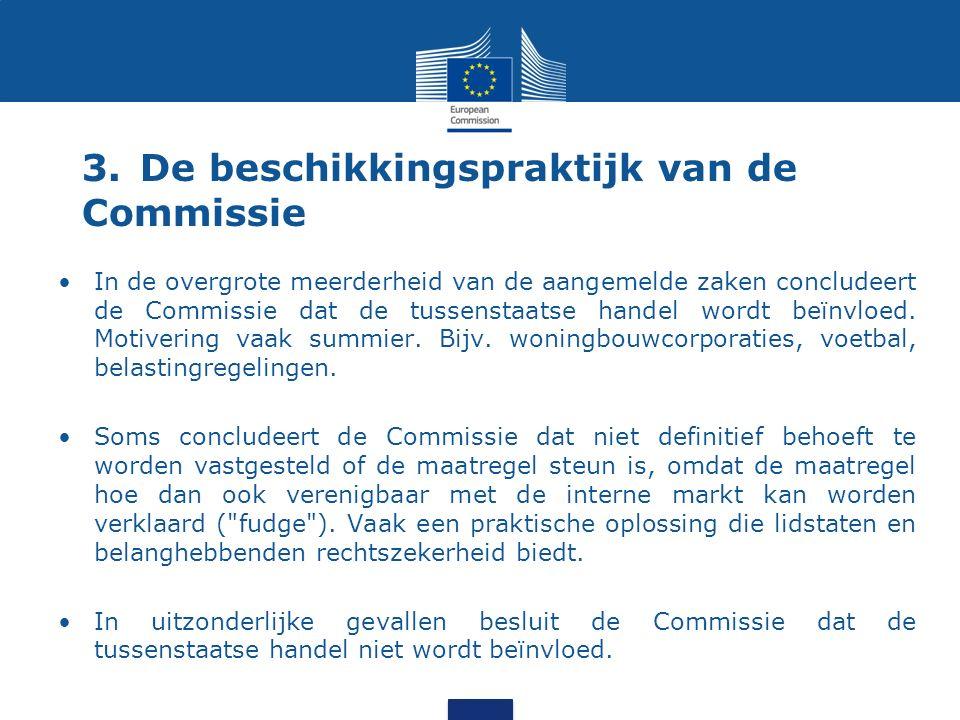 3.De beschikkingspraktijk van de Commissie In de overgrote meerderheid van de aangemelde zaken concludeert de Commissie dat de tussenstaatse handel wordt beïnvloed.