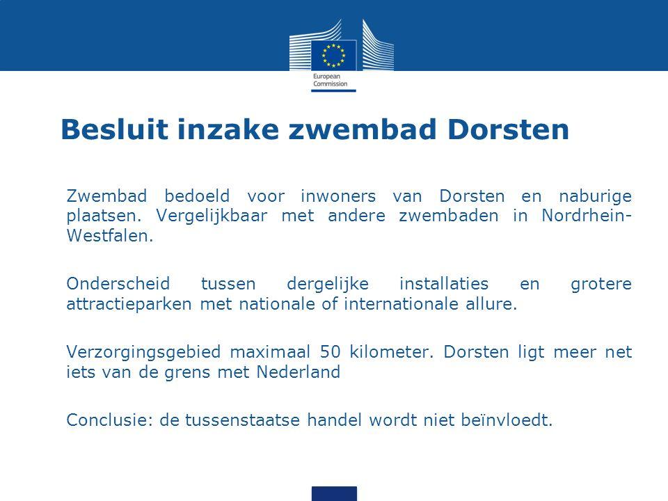 Besluit inzake zwembad Dorsten Zwembad bedoeld voor inwoners van Dorsten en naburige plaatsen.