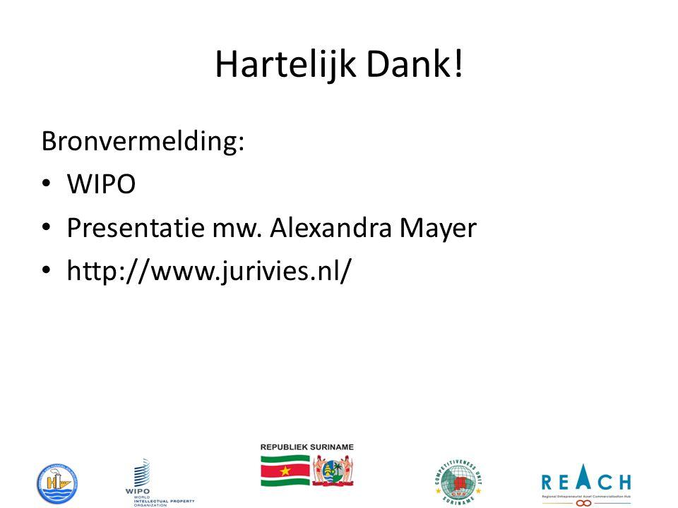 Hartelijk Dank! Bronvermelding: WIPO Presentatie mw. Alexandra Mayer http://www.jurivies.nl/