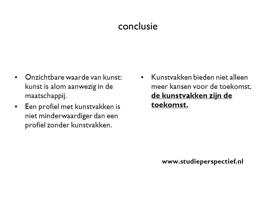 conclusie Onzichtbare waarde van kunst: kunst is alom aanwezig in de maatschappij.