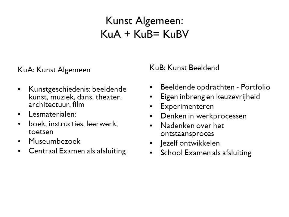 Kunst Algemeen: KuA + KuB= KuBV KuA: Kunst Algemeen Kunstgeschiedenis: beeldende kunst, muziek, dans, theater, architectuur, film Lesmaterialen: boek,