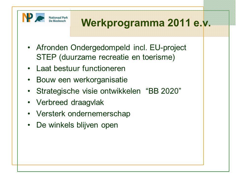 Werkprogramma 2011 e.v. Afronden Ondergedompeld incl.