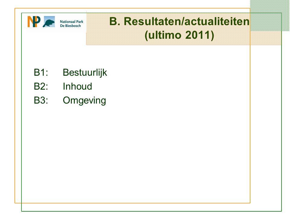 B. Resultaten/actualiteiten (ultimo 2011) B1: Bestuurlijk B2:Inhoud B3:Omgeving