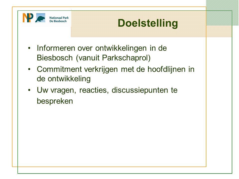 Doelstelling Informeren over ontwikkelingen in de Biesbosch (vanuit Parkschaprol) Commitment verkrijgen met de hoofdlijnen in de ontwikkeling Uw vragen, reacties, discussiepunten te bespreken