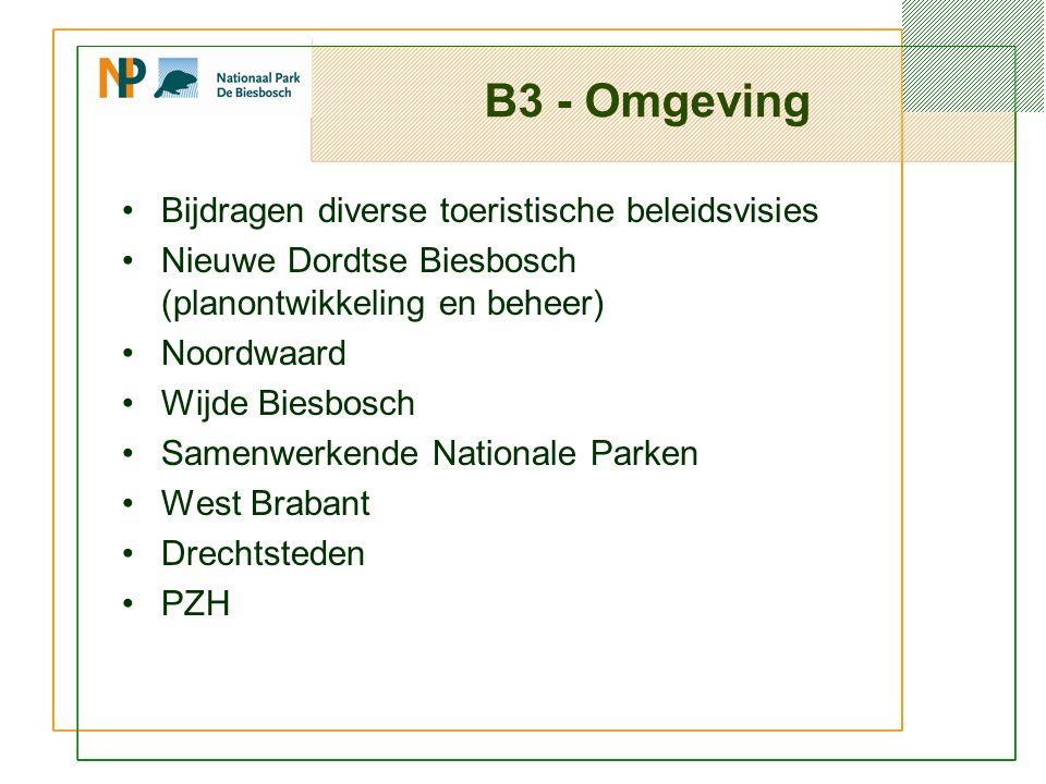 B3 - Omgeving Bijdragen diverse toeristische beleidsvisies Nieuwe Dordtse Biesbosch (planontwikkeling en beheer) Noordwaard Wijde Biesbosch Samenwerkende Nationale Parken West Brabant Drechtsteden PZH