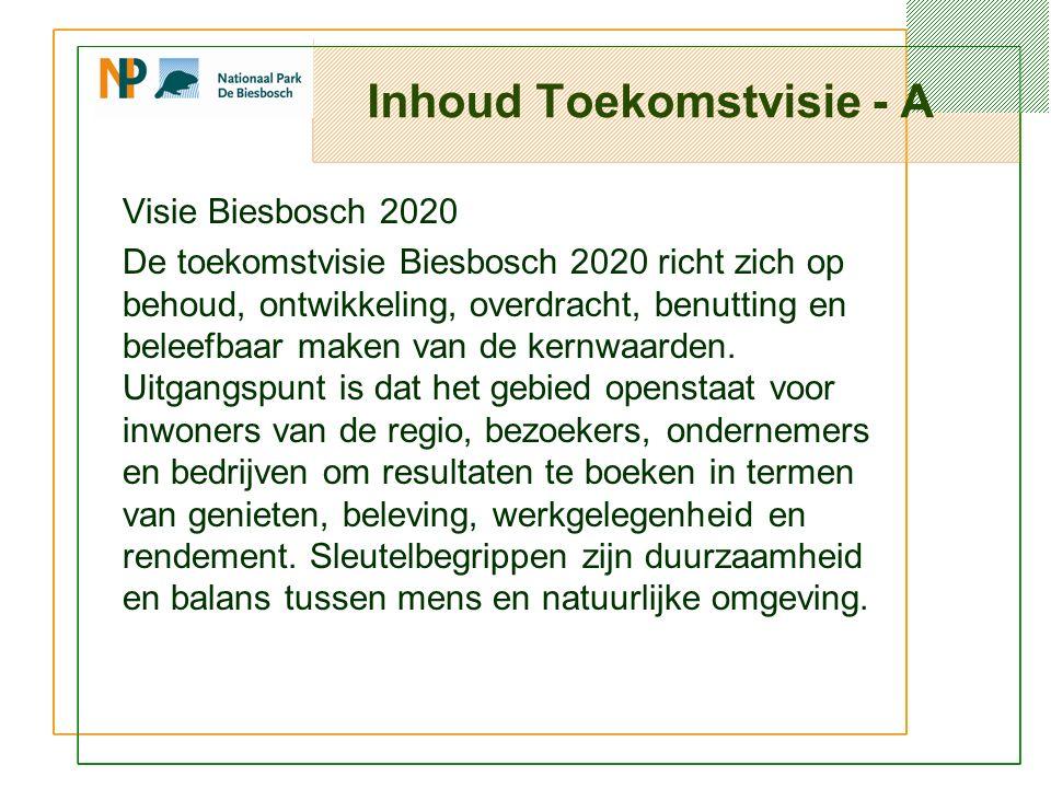 Inhoud Toekomstvisie - A Visie Biesbosch 2020 De toekomstvisie Biesbosch 2020 richt zich op behoud, ontwikkeling, overdracht, benutting en beleefbaar maken van de kernwaarden.