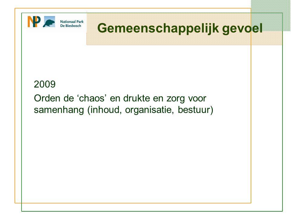 Gemeenschappelijk gevoel 2009 Orden de 'chaos' en drukte en zorg voor samenhang (inhoud, organisatie, bestuur)