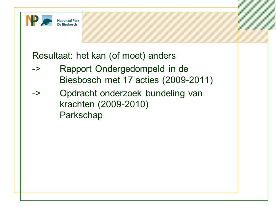 Resultaat: het kan (of moet) anders ->Rapport Ondergedompeld in de Biesbosch met 17 acties (2009-2011) ->Opdracht onderzoek bundeling van krachten (2009-2010) Parkschap