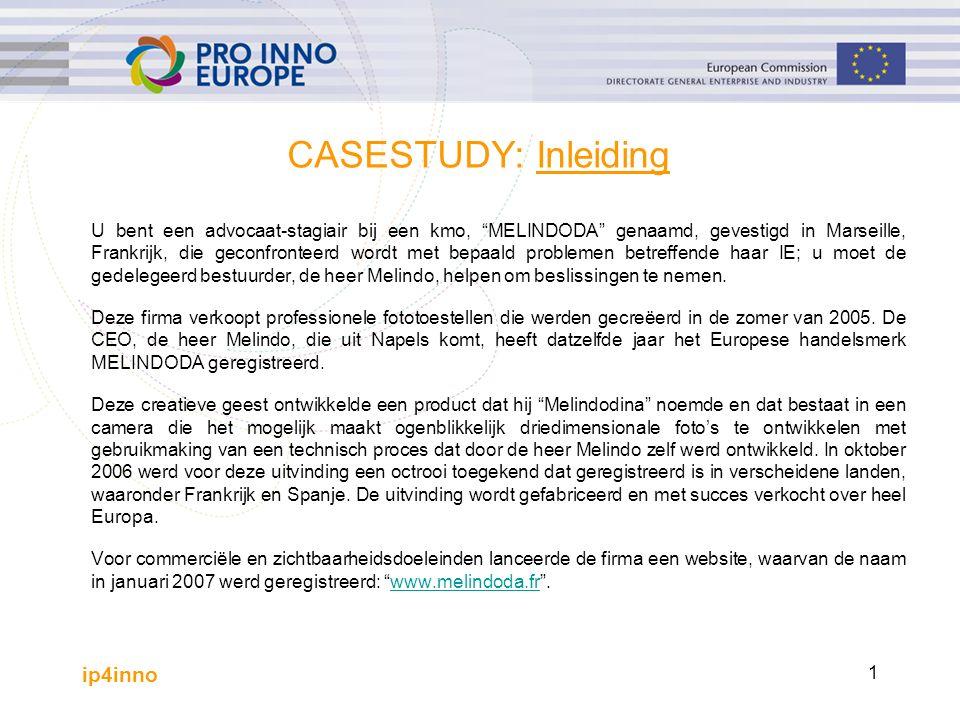 ip4inno 2 CASESTUDY: Problemen Wegens de economische groei van zijn activiteiten wilde de heer Melindo voor zijn website de uitbreiding .com registreren.