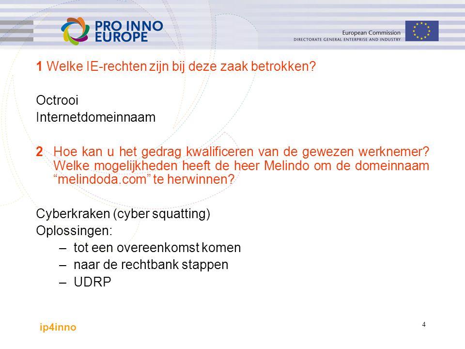 ip4inno 5 CASESTUDY: Vragen 3Meent u dat Transferico Ltd haar uitvinding Camedesign moet octrooieren.