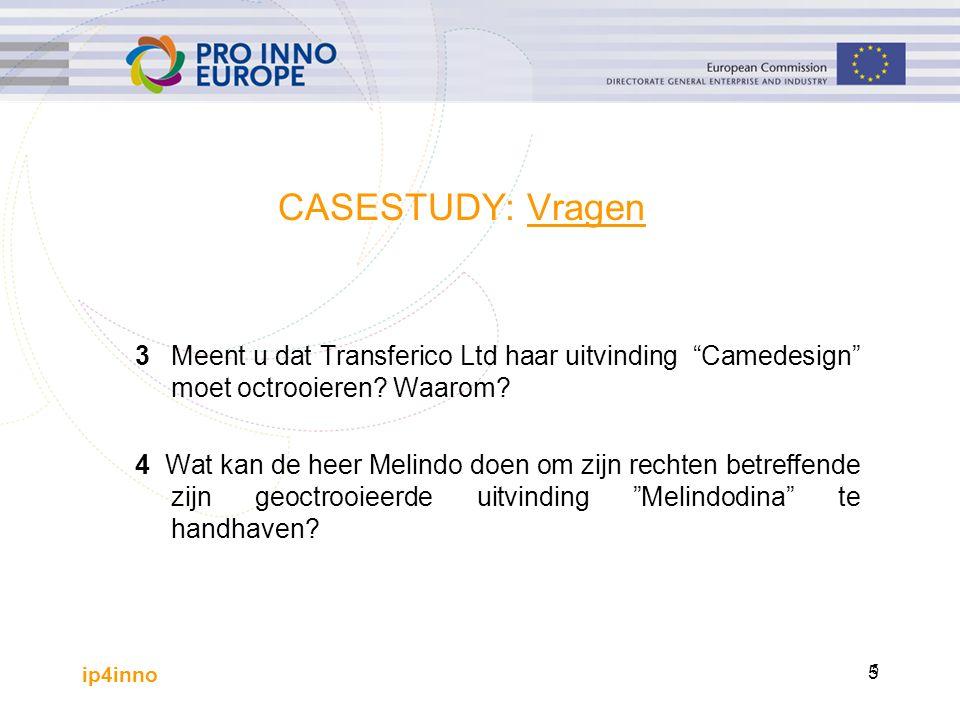 ip4inno 6 3 Meent u dat Transferico Ltd haar uitvinding Camedesign moet octrooieren.