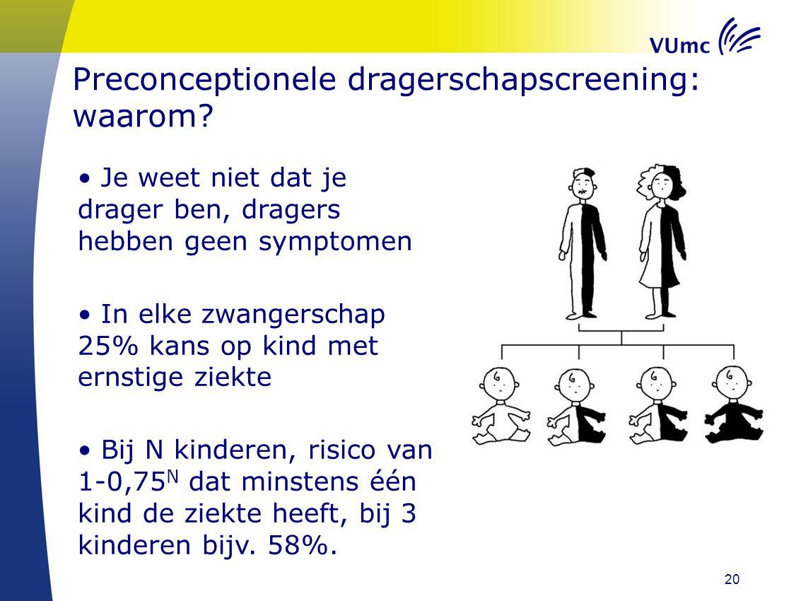 20 Preconceptionele dragerschapscreening: waarom? Je weet niet dat je drager ben, dragers hebben geen symptomen In elke zwangerschap 25% kans op kind