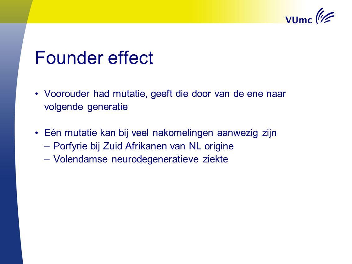 Founder effect Voorouder had mutatie, geeft die door van de ene naar volgende generatie Eén mutatie kan bij veel nakomelingen aanwezig zijn –Porfyrie bij Zuid Afrikanen van NL origine –Volendamse neurodegeneratieve ziekte