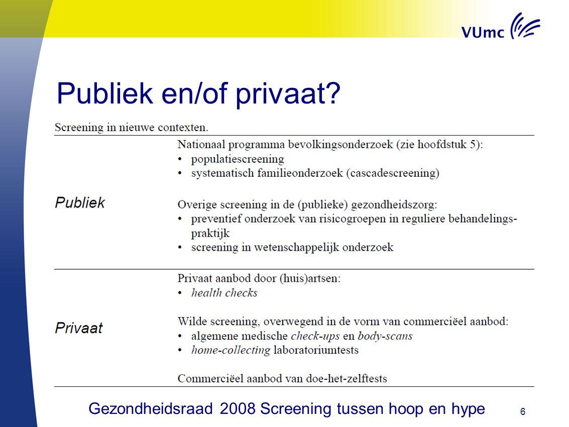 Publiek en/of privaat? 6 Gezondheidsraad 2008 Screening tussen hoop en hype