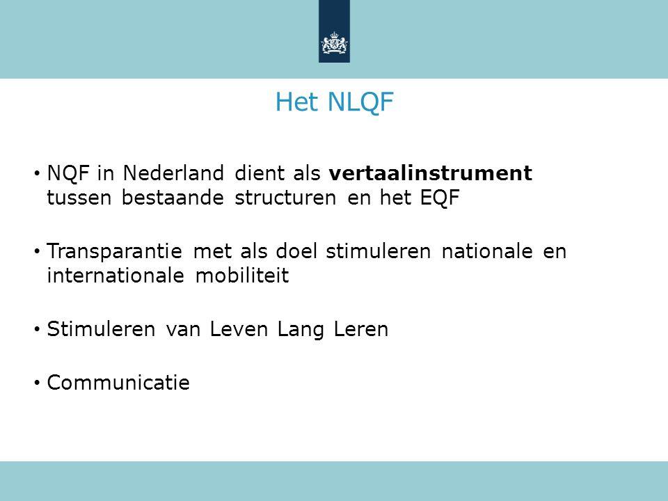 Het NLQF NQF in Nederland dient als vertaalinstrument tussen bestaande structuren en het EQF Transparantie met als doel stimuleren nationale en internationale mobiliteit Stimuleren van Leven Lang Leren Communicatie