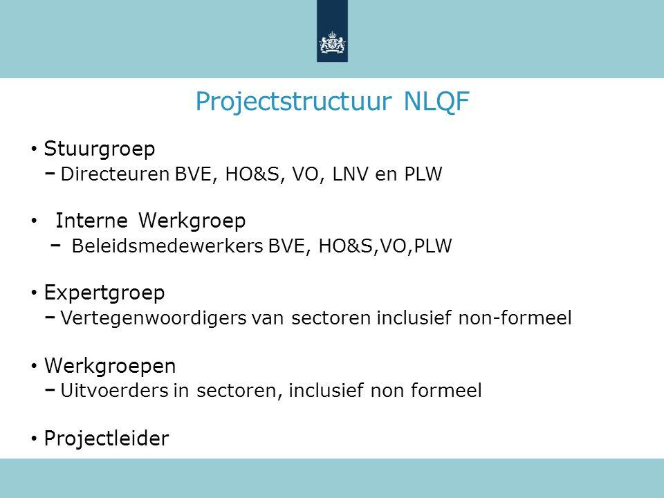 Projectstructuur NLQF Stuurgroep Directeuren BVE, HO&S, VO, LNV en PLW Interne Werkgroep Beleidsmedewerkers BVE, HO&S,VO,PLW Expertgroep Vertegenwoordigers van sectoren inclusief non-formeel Werkgroepen Uitvoerders in sectoren, inclusief non formeel Projectleider