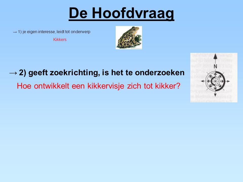 De Hoofdvraag → 2) geeft zoekrichting, is het te onderzoeken Hoe ontwikkelt een kikkervisje zich tot kikker? → 1) je eigen interesse, leidt tot onderw