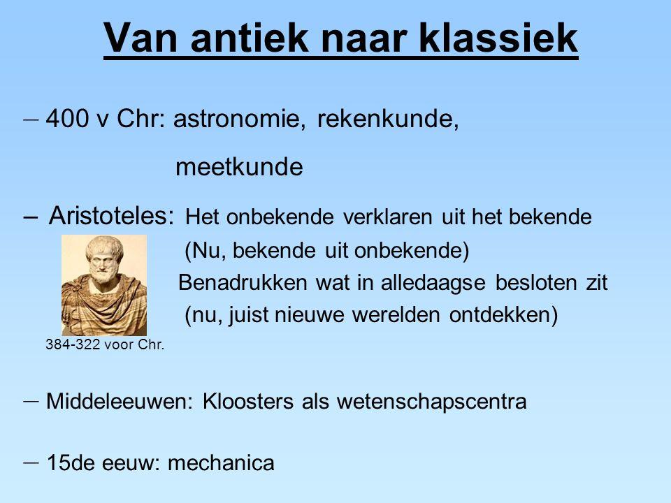 Van antiek naar klassiek – 400 v Chr: astronomie, rekenkunde, meetkunde – 15de eeuw: mechanica – Middeleeuwen: Kloosters als wetenschapscentra 384-322