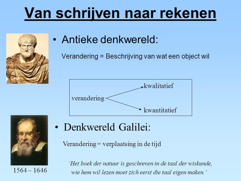 Van schrijven naar rekenen Antieke denkwereld: Verandering = Beschrijving van wat een object wil Denkwereld Galilei: Verandering = verplaatsing in de
