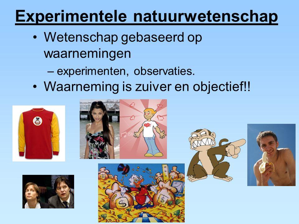 Wetenschap gebaseerd op waarnemingen –experimenten, observaties. Waarneming is zuiver en objectief!! Experimentele natuurwetenschap