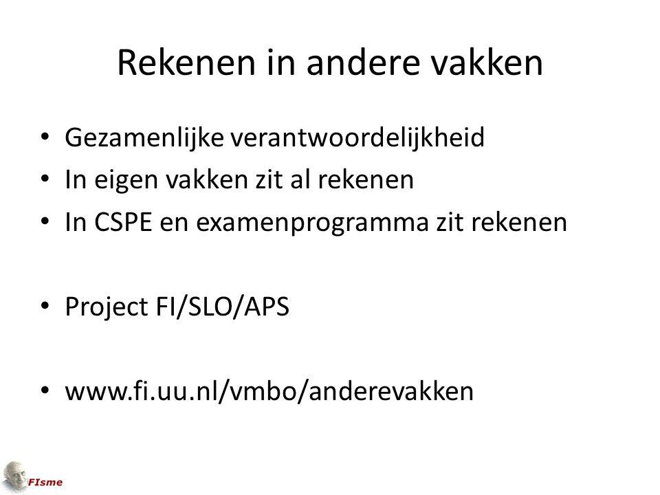 Rekenen in andere vakken Gezamenlijke verantwoordelijkheid In eigen vakken zit al rekenen In CSPE en examenprogramma zit rekenen Project FI/SLO/APS www.fi.uu.nl/vmbo/anderevakken
